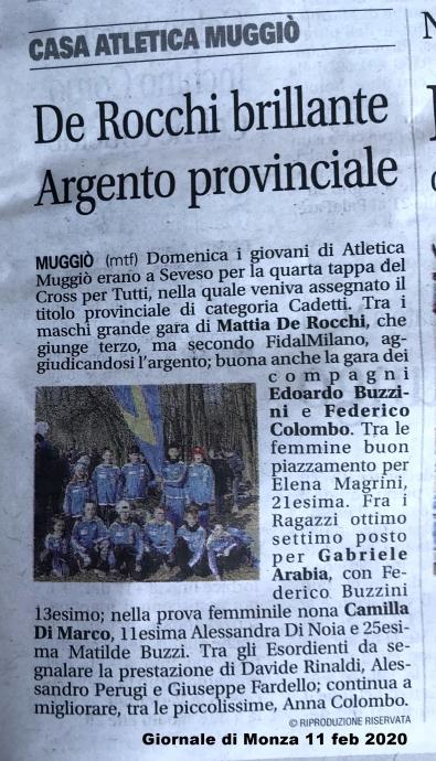 Articolo Giornale di Monza 11 feb 2020