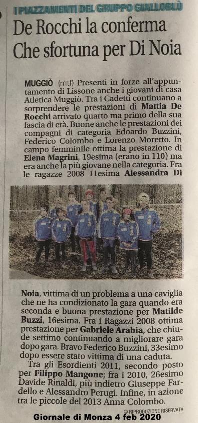 Articolo Giornale di Monza 4 feb 2020