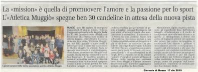 """""""30 anni Atletica Muggiò """" articolo Giornale di Monza  17 dic 2019"""