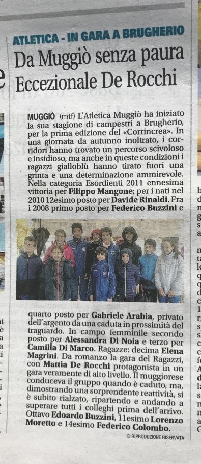 Articolo Giornale di Monza 18/11/2019