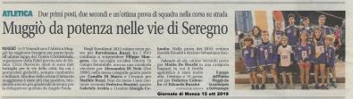 Articolo Giornale di Monza 15 ottobre 2019